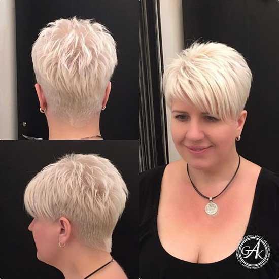 Блондинка с пикси и боковой челкой