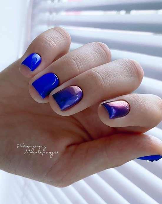Шикарный синий маникюр