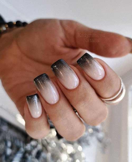 Черный градиент ногти
