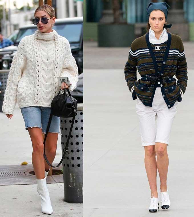 Джинсовые шорты со свитером и кардиганом