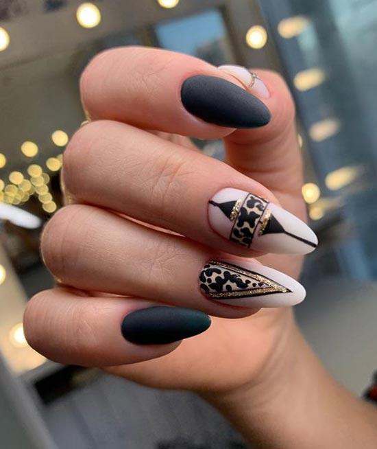 Черно-бежевый леопардовый маникюр с блестками