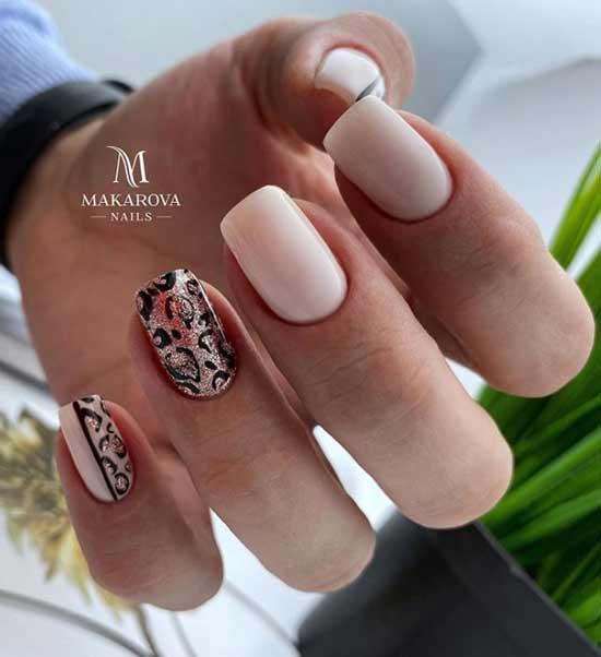 Леопард принт средние ногти