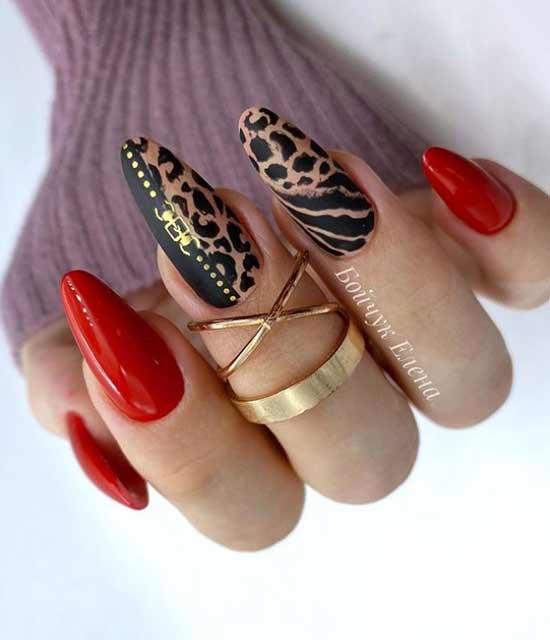 Леопард с красным покрытием ногтей
