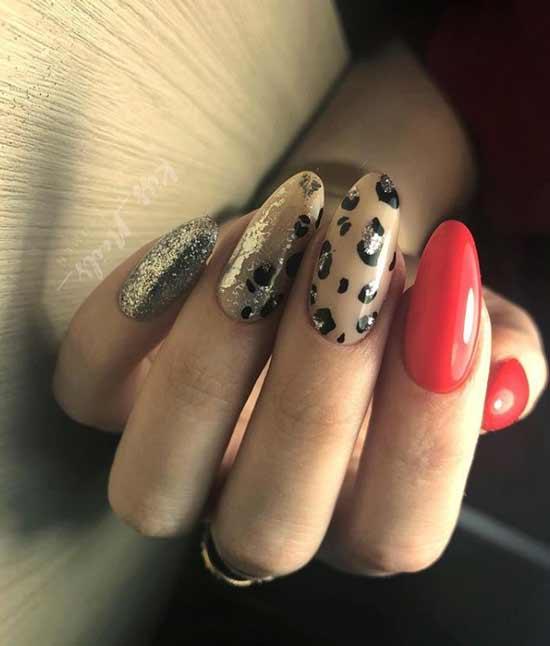 Леопард с блестками фото маникюра