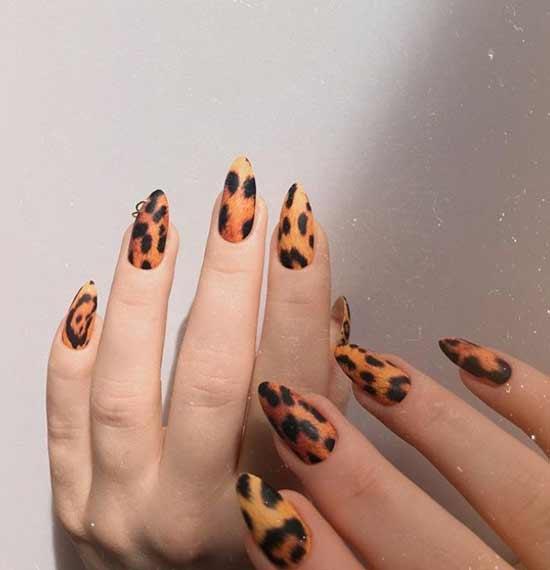 Красивый дизайн ногтей леопардовый принт