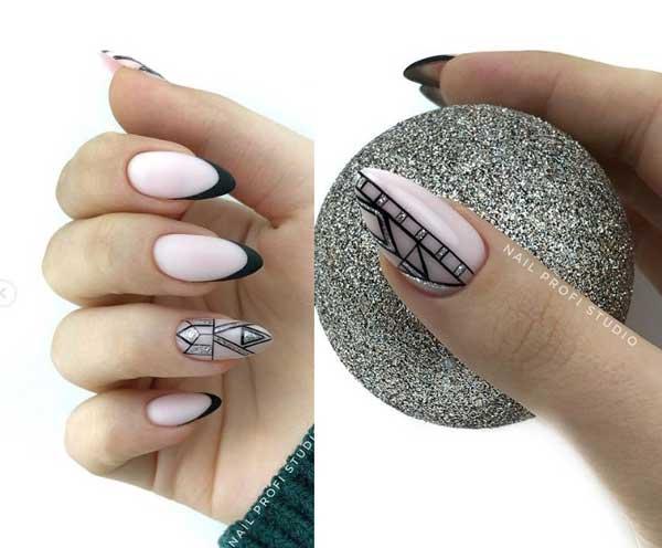 Графика, френч на миндалевидных ногтях