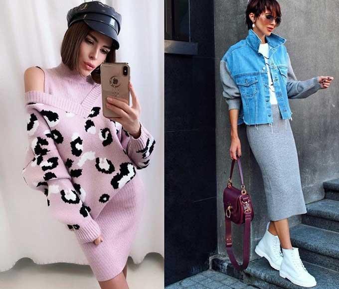 Модные вязаные трикотажные комплекты 2019-2020