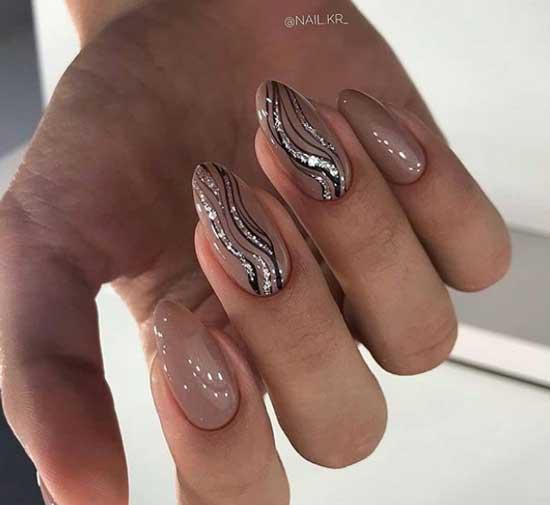 Нюдовая абстракция на ногтях