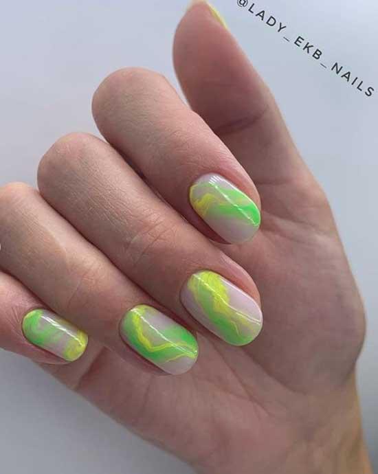 Неоновая абстракция на ногтях