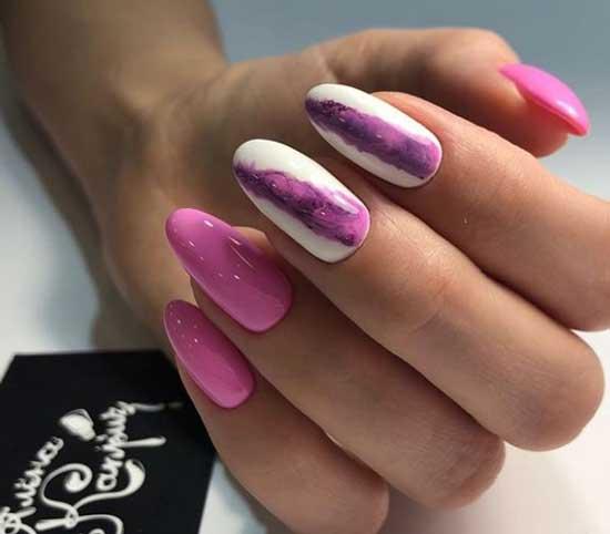 Розовая абстракция на ногтях