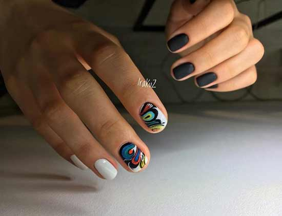 Черно-белая абстракция короткие ногти