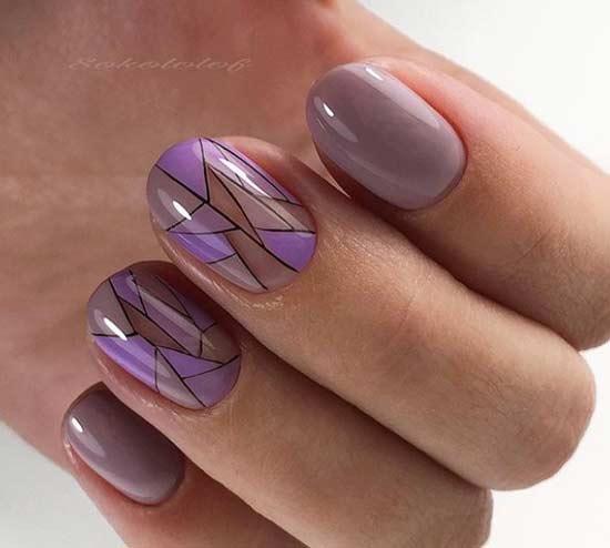 Геометричный дизайн на овальных ногтях