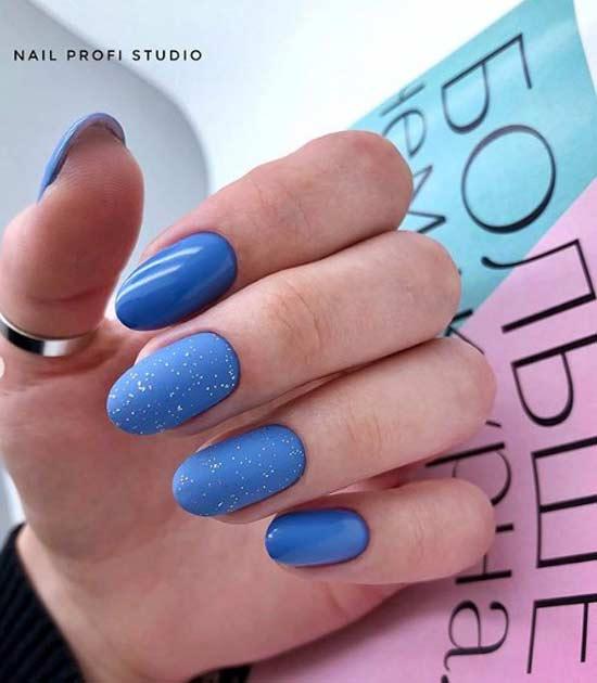 Синий с голубым дизайн ногтей