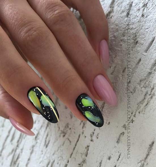 Длинные овальные ногти модный дизайн