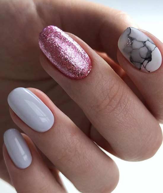 Сочетание декора в дизайне овальных ногтей
