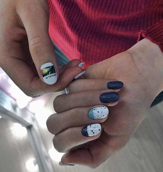 Модный дизайн овальных ногтей