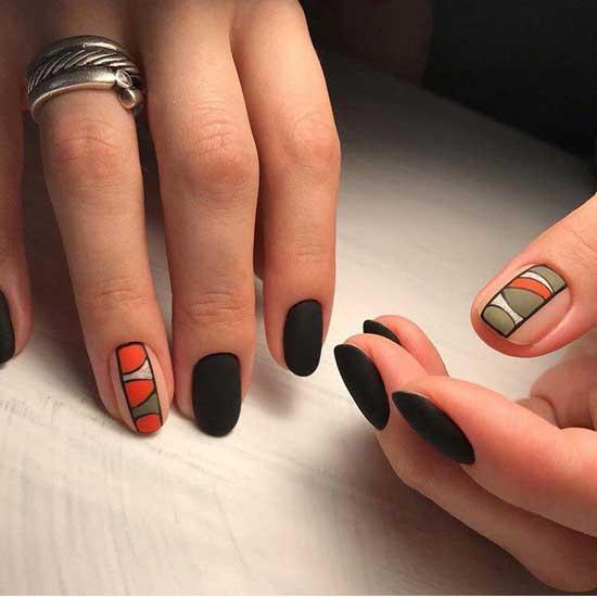 Черный матовый маникюр на короткие ногти