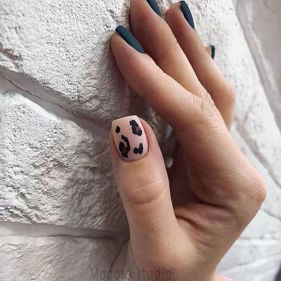 Красивый маникюр с леопардовым принтом короткие ногти