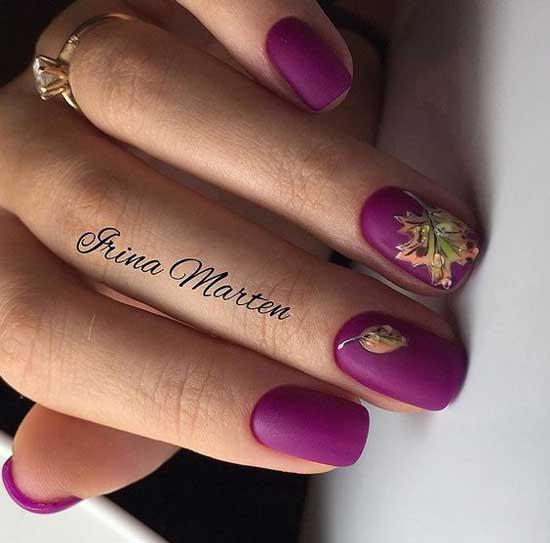 Фиолетовый маникюр на коротких ногтях