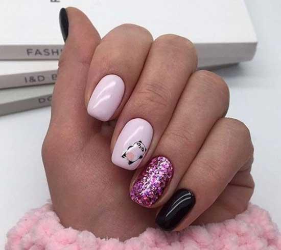 Контрастный дизайн коротких ногтей