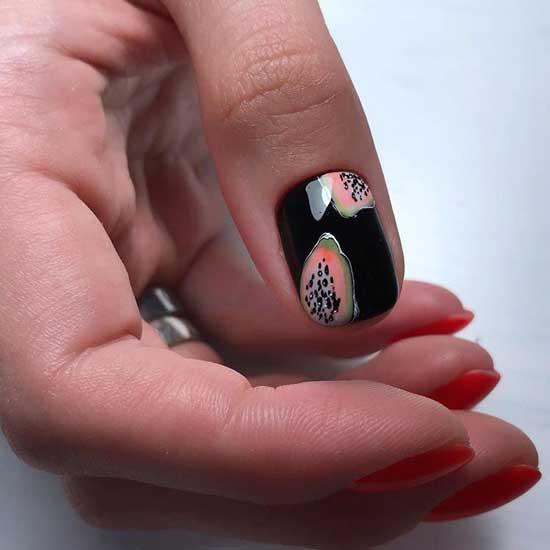 Красный с черным - дизайн коротких ногтей