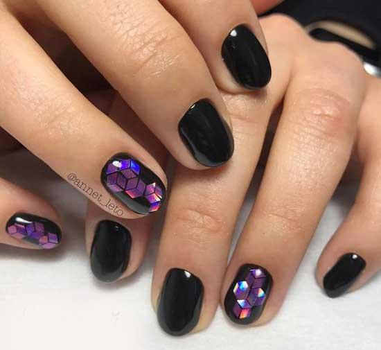 Красивый черный маникюр на короткие ногти