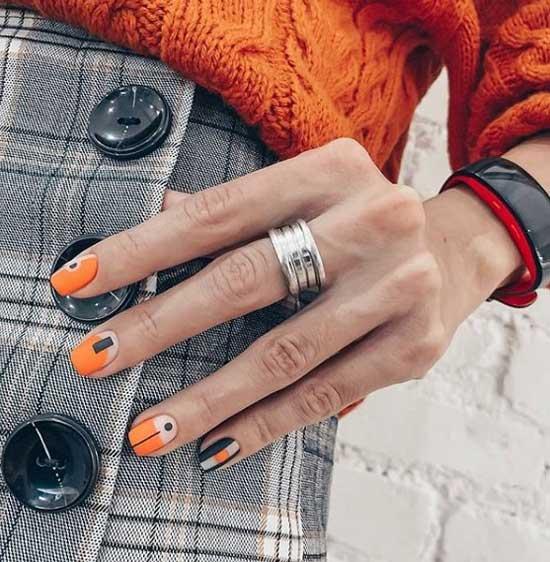 Оранжевый френч - осенне-зимние оттенки
