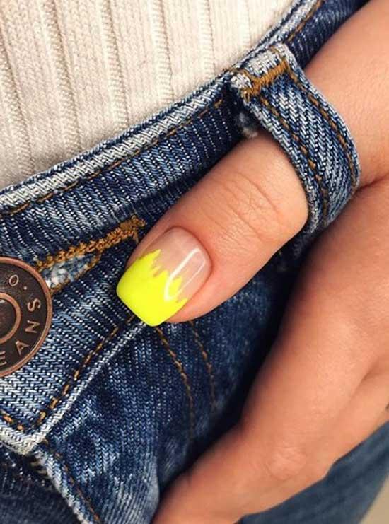 Кислотный желтый маникюр френч