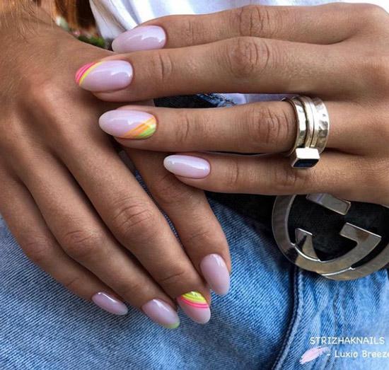 Неоновый маникюр средние ногти