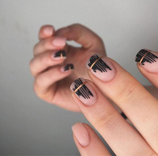 Стиль минимализм на средней длине ногтей