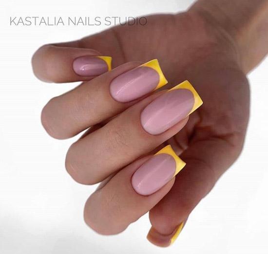 Цветной френч на квадратные средние ногти