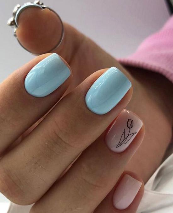 Маникюр с акцентом на средние ногти