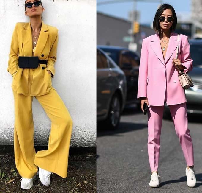 Желтый и розовый модный брючный костюм 2019-2020