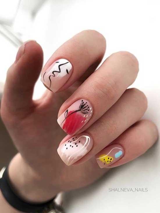 Нейл-арт на прозрачном фоне ногтей
