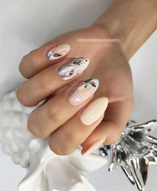Нежный нейл-арт на ногтях