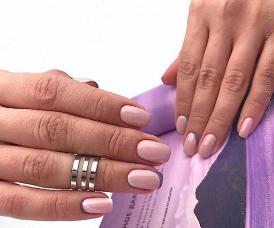 Розово-серый цвет френча с втиркой