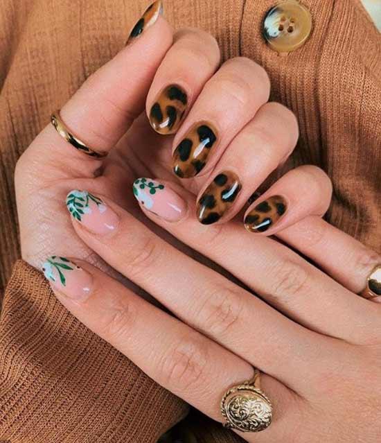 Леопардовый и цветочный принт на руках