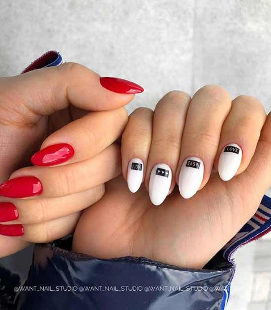 Белый и красный маникюр
