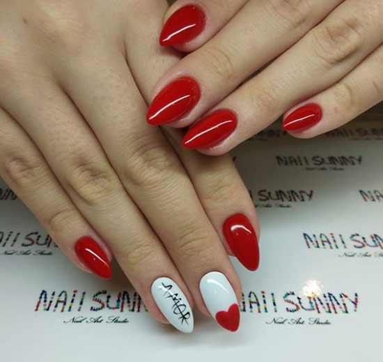 Красный и белый дизайн ногтей