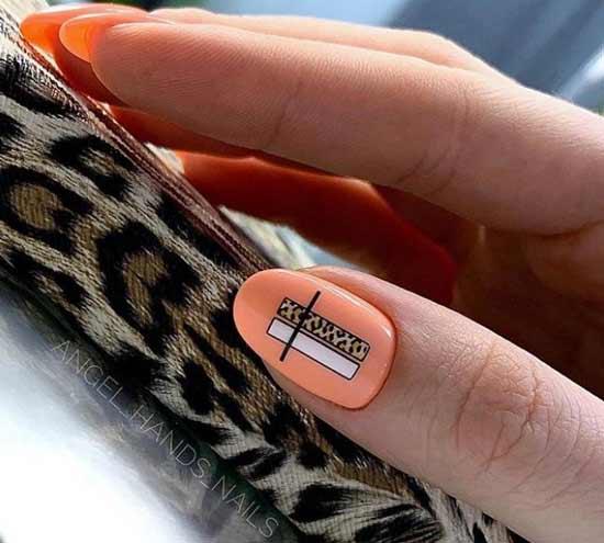 Простой дизайн ногтей с принтом