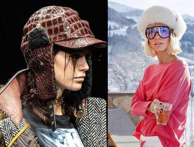 Модные шапки-ушанки из кожи и меха