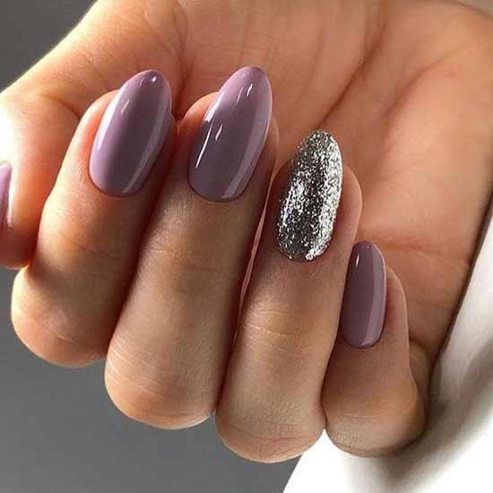 Фиолетово-серебристый маникюр