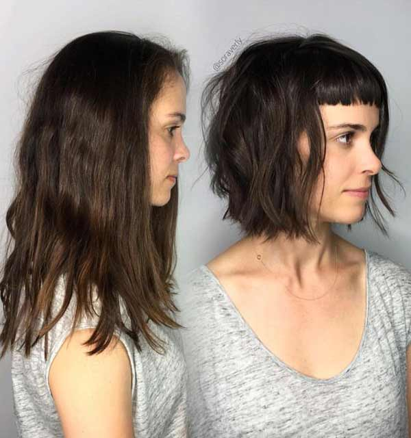 Стрижка средняя длина без укладки, фото до и после