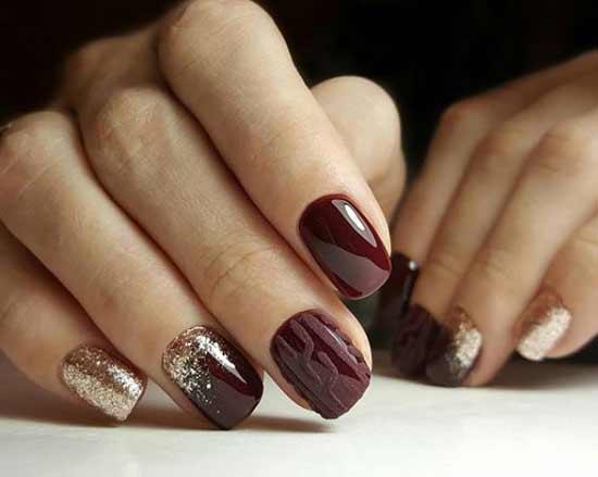 Дизайн бордового цвета ногтей