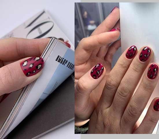 Бордовый маникюр на коротких ногтях