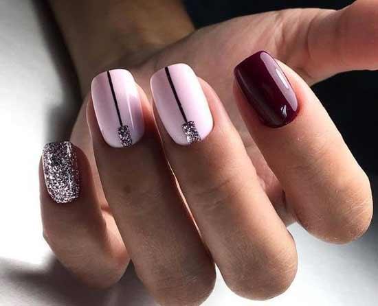 Бордово-розовый маникюр
