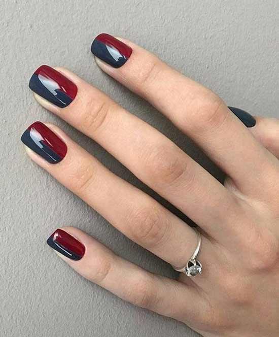 Двухцветный маникюр короткие ногти