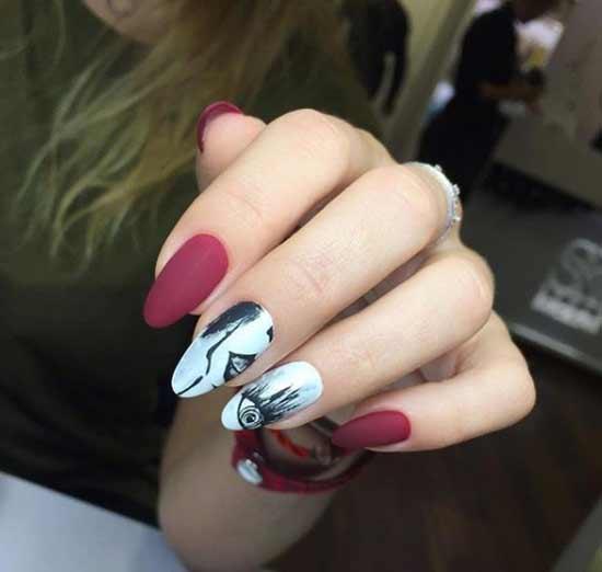 Бордовые ногти с красивым дизайном фото