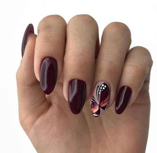 Бордовый дизайн ногтей с рисунком в тон