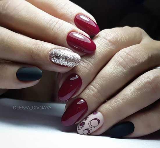 Бордовый маникюр красивый дизайн ногтей
